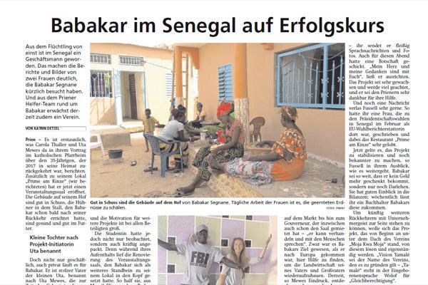 Oberbayerisches Volksblatt, 11.03.2019: Babakar im Senegal auf Erfolgskurs