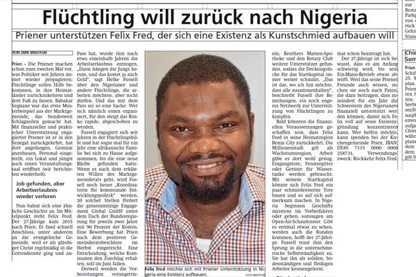 Oberbayerisches Volksblatt, 24.05.2019: Flüchtling will zurück nach Nigeria